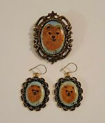 Vintagejb Hand Painted Pomeranian Dog Drop/dangly Earrings And Pendant/brooch