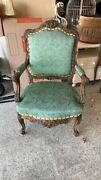 Antique/vtg Furniture Solid Carved Wood Green Accent Arm Chair