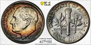 Rainbow Toned 1953 Roosevelt Dime Pcgs Ms-67 Fb Full Bands