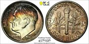 Rainbow Toned 1961 Roosevelt Dime Pcgs Ms-67 Fb Full Bands