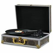 Vinyl Record Player Turntable With Speakers Bluetooth Usb Portable Suitcase