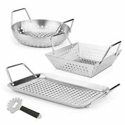 Grill Baskets And Scraper, 3 Pcs Vegetable Grill Baskets, Heavy Duty Model 2