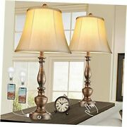 Touch Rustic Farmhouse Bedside Table Lamps Set Of 2 For Living Room Round Base