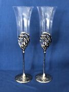 New2 Pottery Barn Skeleton Hand Champagne Flutes Halloween Bar Sold Out @ Pb