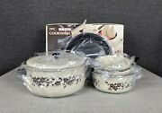 Vintage 7 Pc Non-stick Aluminum Almond And Floral Pattern Cookware Set Opened Box