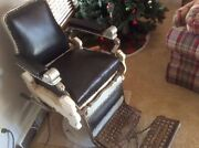 Antique Barber Chair Working Hydraulics Flip Step 1901