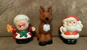 Fisher Price Little People Figures Santa And Mrs. Claus + Christmas Reindeer