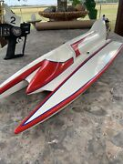 Vintage Pickle Fork Rc Boat With Kandb 3.5 Outboard Motor Plus Remote Parts Repair
