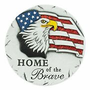 12 Sparkle Eagle And Flag Embellished Round Garden Stepping Stone Wall Hanging