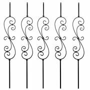 S10 - Wrought Iron Balusters Andndash Set Of 5 Deck Balusters - Decorative Metal Bal...