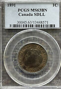 1891 Canada One Cent Pcgs Ms63bn - Small Date Large Leaves