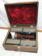 Rare Keystone World View Stereoview Card Set In Wood Box Real Photo Viewer