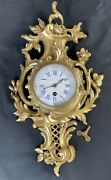 Spectacular Louis Xv French Solid Gilded Bronze'' Cartel'' Wall Clock W/key