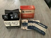 Vintage 1950's Bakelite Viewmaster 3d Viewer Model E With 19 Reels Of Pics