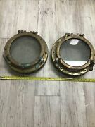 Vintage Pair Brass. Opening Port Lights 11andrdquo Od 7 1/2andrdquoglass 4 1/2andrdquo Wide 2 Dogs.