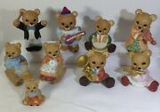 Homco Orchestra Bears Collectible Figurines + Ma/pa/baby - Lot Of 9 -pre-owned