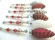 Set Of 6 Vintage And New Rustic Pinecone Mercury Glass Bead Icicle Ornaments