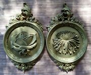 Vintage Pair Of Syroco Gold Floral Ornate Hanging Wall Plaques Modern Decor 1977