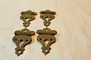 Four Vintage Solid Brass Cabinet Ice Box Offset Hinges