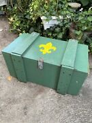 Vintage 1960s 70s Boy Scouts Wood Strong Box Toy Chest Storage Crate Trunk Bsa