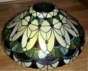 Large Style Stained Glass Lamp Shade Jeweled Beaded 20 Wide X 9 Deep