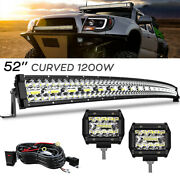 For 2004-2014 Ford F150 Roof 52 Inch Curved Led Light Bar 4and039and039 Pods Driving Kit