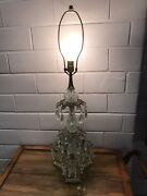Antique Vtg Brass Crystal And Prism Tall Table Lamp 3 End Base Ornate Beaut 33 3/4