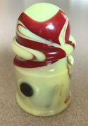 Slag Glass Agate Marbled Car Ashtray Blood Red Brownish On Yellowish Vintage