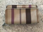 Thirty One Free To Be Soft Canvas Striped Zip Around Wallet