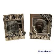 2 Small Vintage Silver Metal Photo Cat Art Deco Picture Frames
