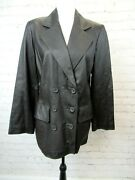 Newport News Easy Style Womenand039s Leather Jacket Double Breasted Brown Size M