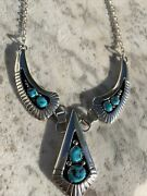 Vintage Navajo Sterling Silver Nevada Blue Turquoise Shadowbox Bib Necklace Ky