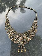 Vintage Egyptian Faience Beads Beaded Bib Necklace Brass Old Mesh Collar