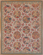 Tapestry Woven Carpet Hand Made Of Wool And Silk After Vintage Textile Patterns