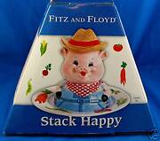 Fitz And Floyd Stack Happy Farmer Pig Childrenand039s Set