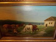 C 1890 The Farm Horses Animals Antique Art Signed Framed Oil Landscape Painting