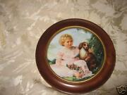 Collie Dog With Young Girl Decorative Collectible Framed Plate Home Wall Decor