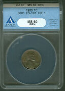1andcent Lincoln Double 1955 Error Anacs Ms60bn