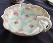 Nippon Hand Painted Mark Scallop Fancy Serving Collectible Bowl Dish Gold Trim