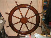 Antique Solid Hand Made Inlaid Gorgous Huge Sailboat 48 Helm Wheel-one Ofa Kind