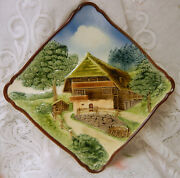 Old Majolica Country Farm Picture Plate Germany