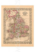 Maps Warp- County Map Of England And Wales 1867-art Print Poster 19 X 131401