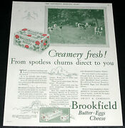 1926 Old Magazine Print Ad, Brookfield Creamery Butter, From Spotless Churns