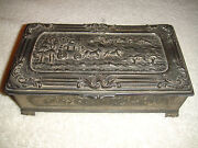 Antique Japan Pewter Metal Trinket Box Wood Lined Horse Buggy Front Etched