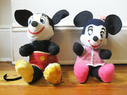 Lot 2x Early Stuffed Toy Mickey And Minnie Mouse Walt Disney Label 1940and039s Doll
