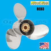 Yamaha Prop 50-140hp Power Tech Red3 Propeller Polished Stainless Steel 3 Blade