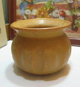 Vtge American Art Pottery Brown Glaze Spittoon Cuspidor Planter American Bisque