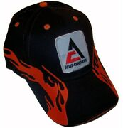Allis Chalmers New Logo Tractor 6 Panel Black And Red Flame Hat - Cap Fits Most
