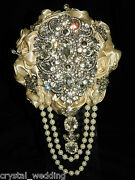 Satin Rose And Brooch Bouquet ' Regency Vintage ' Bridal Collection All Colours