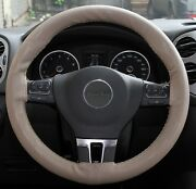 Beige Pvc Leather Steering Wheel Wrap Cover W/ Needle And Thread Diy Camry Rav4